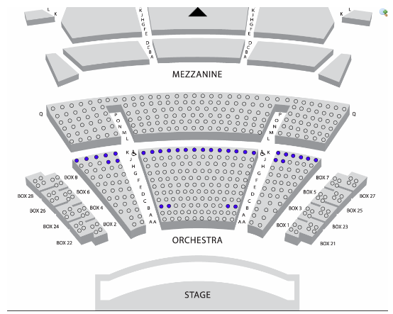 Cutler Majestic Theatre Accessible Seating Map